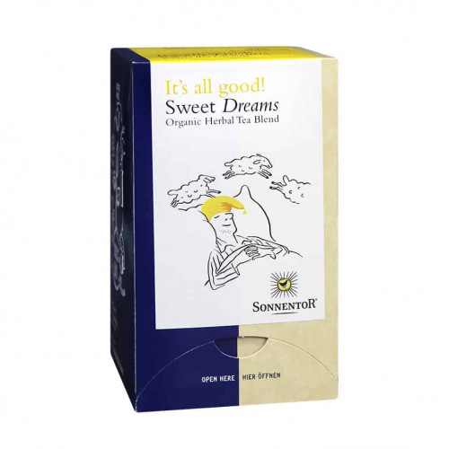 Front view of a box of Sonnentor Sweet Dreams Tea Blend