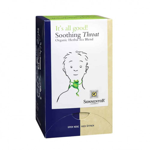Front view of a box of Sonnentor Soothing Throat Tea Blend