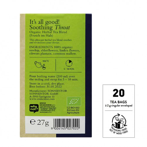 Back view of a box of Sonnentor Soothing Throat Tea Blend