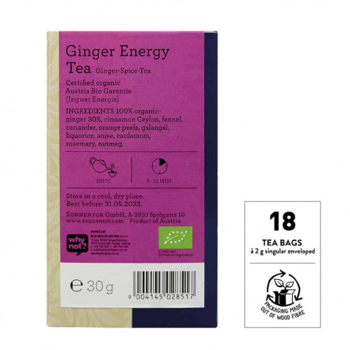 Back view of a box of Sonnentor Ginger Energy Tea