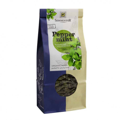 Front view of a packet of Sonnentor Peppermint, 50g