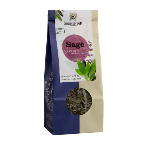 Front view of a packet of Sonnentor Sage, 50g