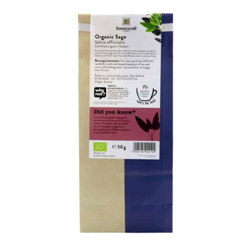 Back view of a packet of Sonnentor Sage, 50g