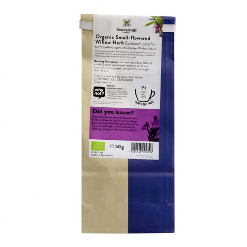Back view of a packet of Sonnentor Small-Flowered Willow Herb, 50g
