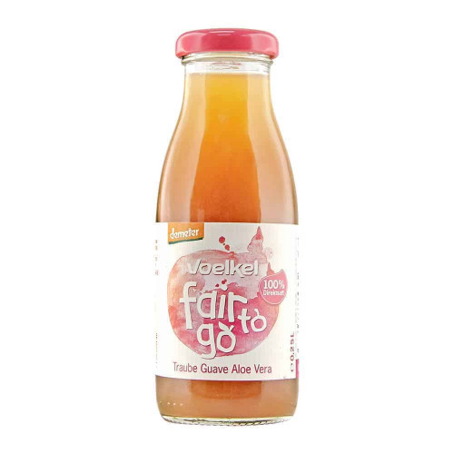 Bottle of Voelkel Fair To Go Juice Guava Aloe Vera 250ml