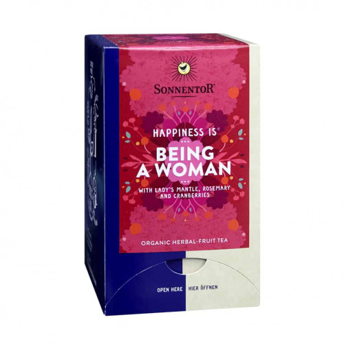 Front view of a box of Sonnentor Happiness is... Being a Woman Tea Blend