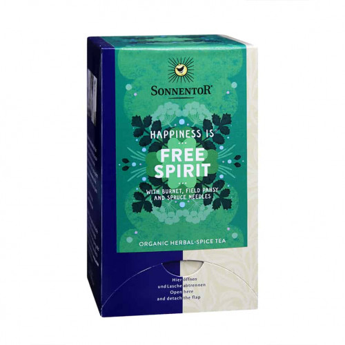 Front view of a box of Sonnentor Happiness is... Free Spirit Tea Blend