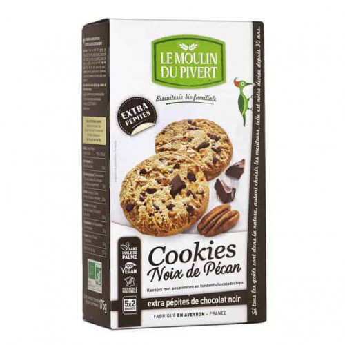 Box of Le Moulin Organic Pecan Nut Cookies With Dark Chocolate Chunks 175g