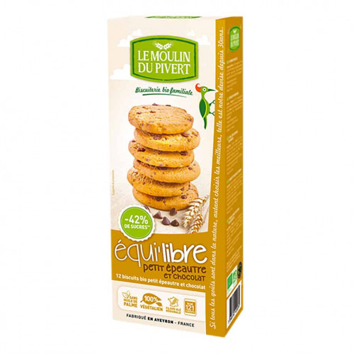 Box of Le Moulin Organic Biscuits with Small Spelt Flour and Chocolate Chips, 150g