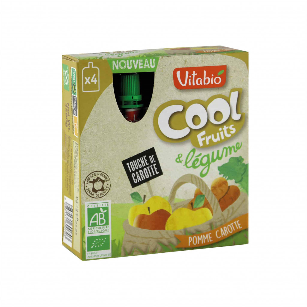 Vitabio Organic Cool Fruit & Vegetables Apple - Carrot (4 X 90g)
