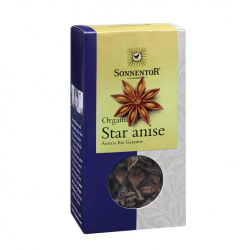 Front view of a box of Sonnentor Organic Star Anise, 25g