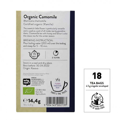 Back view of a box of Sonnentor Organic Camomile Tea Blend