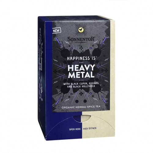 Front view of box of Sonnentor Happiness is… Heavy Metal Tea Blend