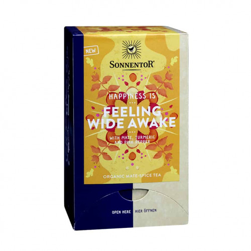 Front view of a box of Sonnentor Happiness is… Feeling Wide Awake Tea Blend