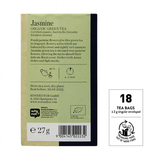 Back view of Sonnentor Organic Jasmine Green Tea Blend Package