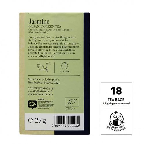Back view of Sonnentor Organic Jasmine Green Tea Blend Package