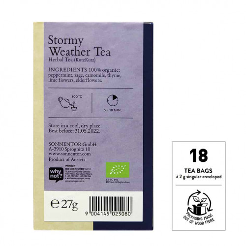 Back view of a box of Sonnentor Stormy Weather Tea Blend