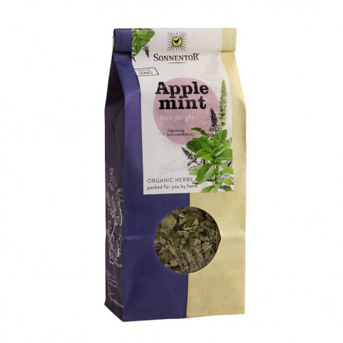 Front view of a packet of Sonnentor Organic Applemint Tea, 50g