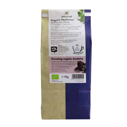 Back view of a packet of Sonnentor Organic Applemint Tea, 50g