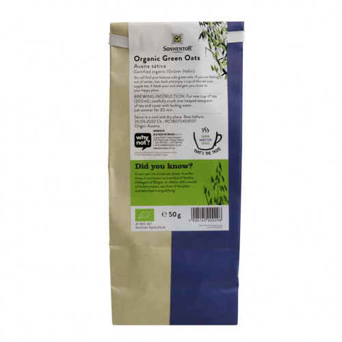 Back view of a packet of Sonnentor Organic Green Oats Tea, 50g