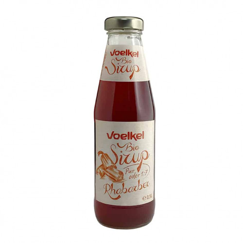 Bottle of Voelkel Organic Rhubarb Syrup, 500ml