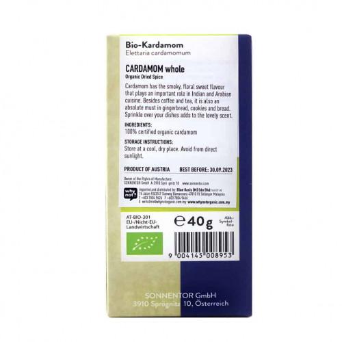 Sonnentor Organic Cardamom back 40g