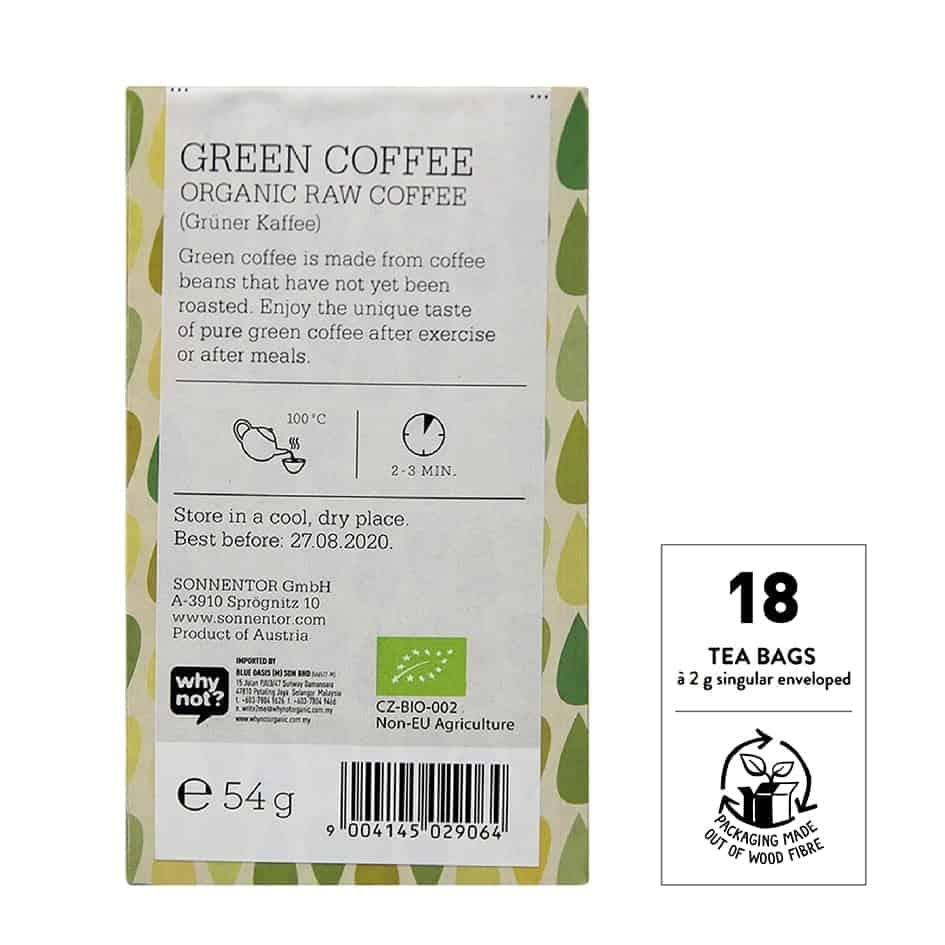 Sonnentor Organic Raw Green Coffee, 18 tea bags