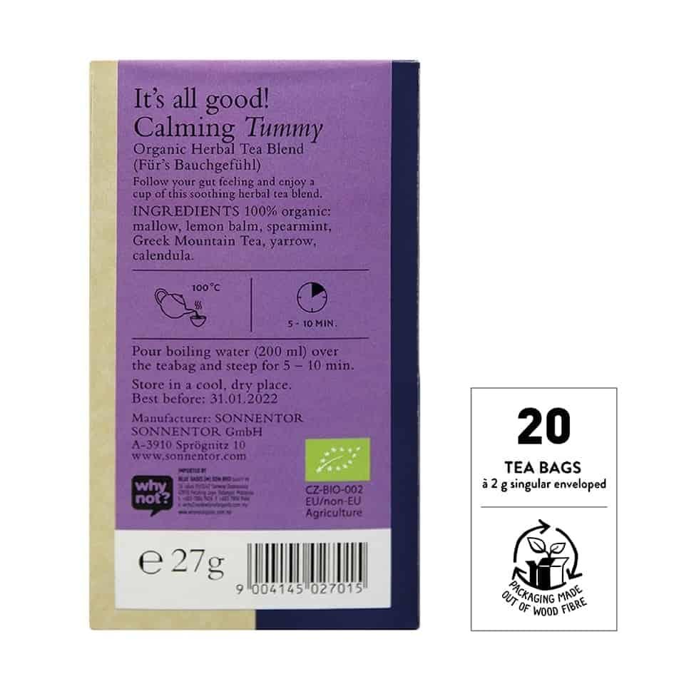 Sonnentor Organic Calming Your Tummy Tea Blend, 18 tea bags