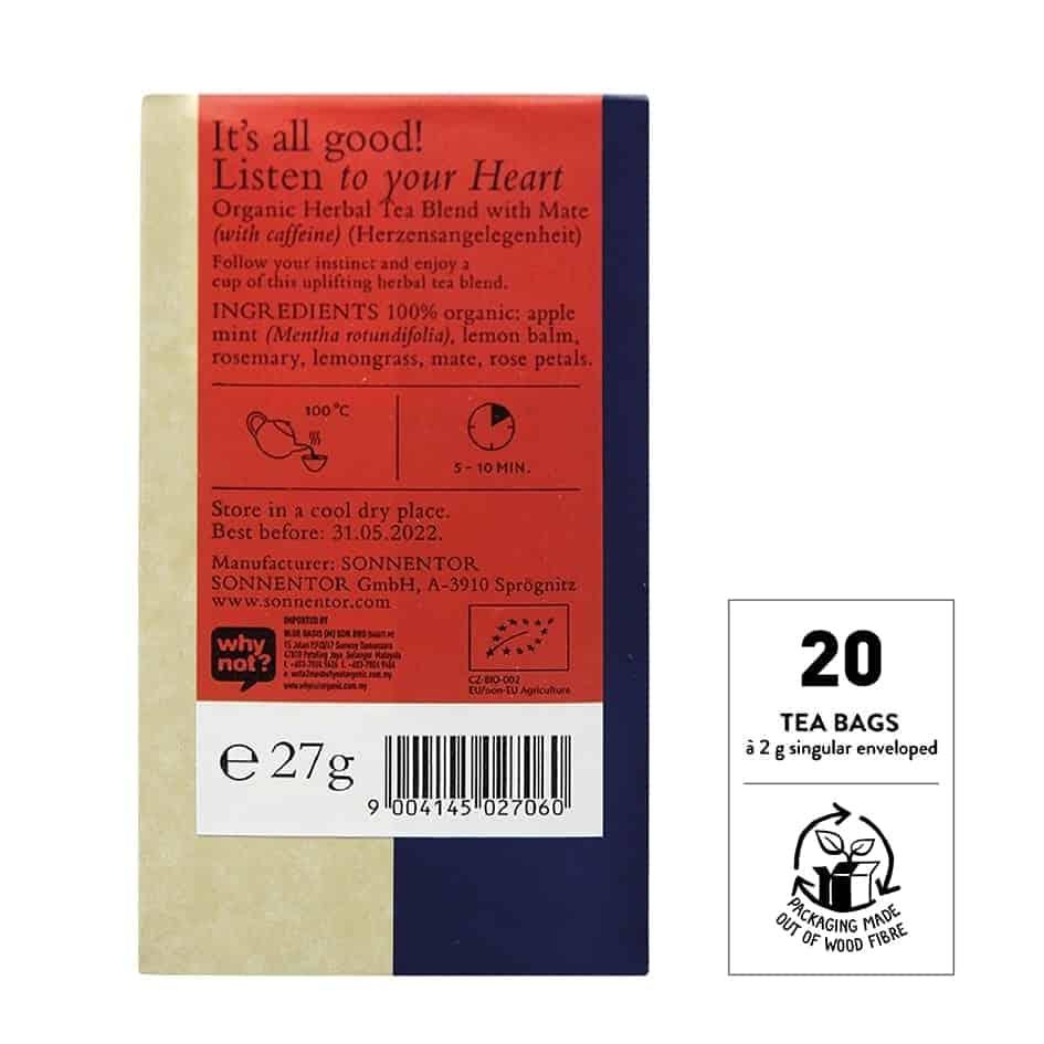 Sonnentor Organic Listen To Your Heart, 18 tea bags
