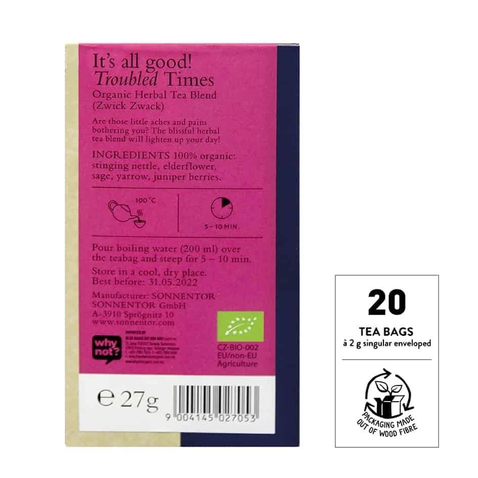 Sonnentor Organic Troubled Times Tea, 18 tea bags